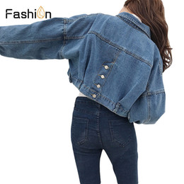 fbd26e0ef88 2018 Women Basic Short Denim Jacket Girls Coat Jeans Jackets Ladies Loose  Outerwear Harajuku Coats Boyfriend Plus Size Clothes Y18110501