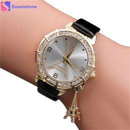 watch pendants Australia - Fashion Women Bracelet Watch Quartz Wristwatch PU Leather The Eiffel Tower Rhinestone pendant Wrist Watch