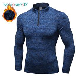2019 ropa interior negro brillante WOLFONROAD Camiseta térmica de manga larga de invierno para hombre Camiseta deportiva de fútbol Senderismo para hombres Ropa deportiva Jersey de hombre de secado rápido