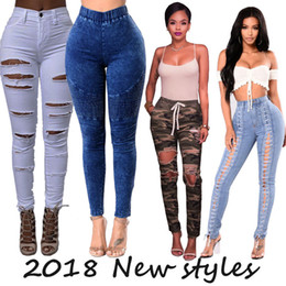 Wholesale green holes - Women Skinny Ripped Hole Jeans Push Up Mid Waist Pants Lady Casual Slim Fit Long Pants Female Trousers Free Shipping
