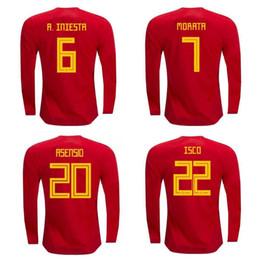 Thai 2018 World Cup Spain long sleeve soccer jerseys ISCO INIESTA RAMOS  football shirt MORATA ASENSIO jersey SILVA camisas de futebol discount spain  long ... 869f0ca5f