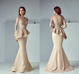 Wholesale hourglass fashions - 2018 Champagne Peplum Long Formal Dresses Evening Wear Sheer Neck Long Sleeve Lace Stain Dubai Arabic Party Gowns Mermaid Prom Dress