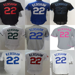 Wholesale Jersey Factory Price - 2016 New Retail Factory Price Cheap Lady Mens Kids Toddlers LA Los Angeles #22 Clayton Kershaw Grey White Black Baseball Jerseys size XS-6XL