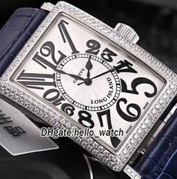 Relojes correas largas online-Nuevo Long Sland Classique Miyota 8215 Reloj automático para hombre con esfera blanca Reloj Diamond Bezel Correa de cuero azul Relojes para hombres
