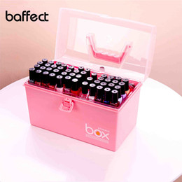 Wholesale nail polish shelf rack - New Plastic Multifunction Makeup Storage Box Organizer Lipstick Holder Nail Polish Rack Desktop Cosmetic Tools Shelf Container