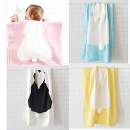 Wholesale Wholesale Crochet Bags - Baby Quilt Bunny Ears Organic Muslin Crochet Swaddle Wrap Kid Blanket For Beach Home Sleeping bag 29*42INCH