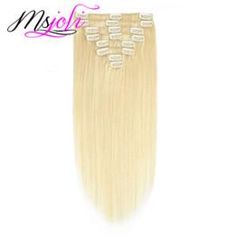 biondo capelli umani da 22 pollici Sconti Brasiliano 613 # Blonde Slick Straight 8Pcs / set 100g Clip nelle estensioni dei capelli 10-28 pollici Disponibili 100% capelli umani