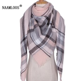 Wholesale Triangle Scarves For Women - Wholesale-2017 Brand Designer Winter Scarf For Women Cashmere Autumn Fashion Warm Large Triangle Shawl Plaid Wool Blanket Wholesale M837