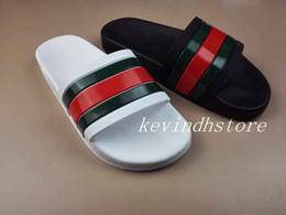 Wholesale Men New Style Sandals - new style 2018 fashion stripes print rubber slide sandals for men summer outdoor beach flip flops