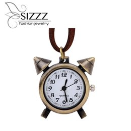 Wholesale Necklace Small Pocket Watches - SIZZZ 47CM Long Retro nostalgic small alarm clock pocket watch bronze round necklace pendants for women men