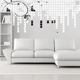 adesivos de parede de vinil pássaros de árvore negra Desconto 3d adesivo de parede mosaico espelho quadrado parede do espelho 2 * 2 cm sofá sala de estar decoração a venda por atacado frete grátis