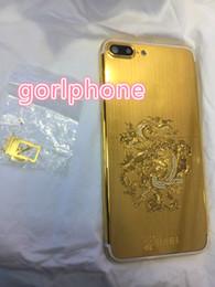 Canada Plaquette en or véritable plaquée au dos avec couvercle de la batterie pour téléphone iPhone 7 7+ avec diamant de luxe dragon avec logo personnalisé Offre