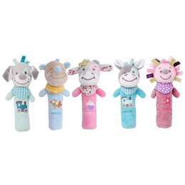 Wholesale Cribs Sales - Wholesale- New Hot Sale Baby Rattles Mobiles BB Sticks Soft Cow Plush Doll Crib Bed Hanging Hand Catches Animal Toy Doll Kids Toy LA979773