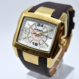 Wholesale Big Batteries - New style 50MM big dial high quality men AAA brand quartz leather wristwatch business casual auto date men dress watch wholesale men's gift