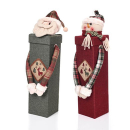 Wholesale Cloth Bags Candles - Merry Christmas Treat Wine Bottle Bag Santa Claus Snowman Dolls Handle Gift Bags Decor Portable Christmas Gift Candy Bags 2