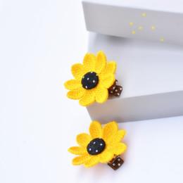 2017 de tela llena de flores amarillas frescas niñas moda pinzas para el cabello niños horquillas Barrettes niños accesorios para el cabello tocado del bebé desde fabricantes