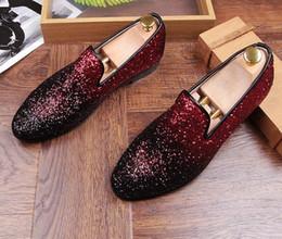 Wholesale low heel gold glitter shoes - Man point toe dress shoe Italian designer mens dress shoes golden genuine leather black luxury wedding shoes rivet flats