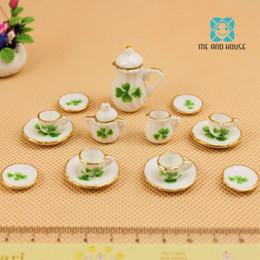 Casa de bonecas miniatura porcelana on-line-Eu e House1: 12 Scale DollHouse cozinha Miniature Clover porcelana mini china conjunto