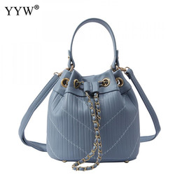 Las bolsas de asas con cordón para las mujeres 2018 Bolsa de cubo azul Bolsos de cuero de lujo de la PU Bolsas de mujer Diseñador Rosa con asa superior desde fabricantes
