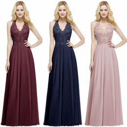 beaded lace bridesmaid dresses Promo Codes - Babyonline Sexy New Lace Chiffon Long Evening Dress Elegant Sleeveless A Line V Neck Sequins Beaded Prom Gowns Bridesmaids Dress CPS912