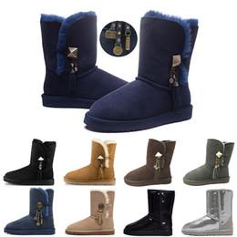 2019 botas de invierno mujer corta UGG Women's Bailey Button Sparkles Boots Botas de lentejuelas con brillo corto para mujer Diseñador WGG Botas de nieve de invierno Negro Azul Rojo Dorado Plata Botones con botones de bota 36-41 botas de invierno mujer corta baratos