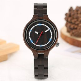Wholesale circle gift tags - Creative Circles Dial Black Brown Zebra Stripes Sandalwood Natural Handmade Full Wooden Women Quartz Watches Sisters Sports Watch Gifts