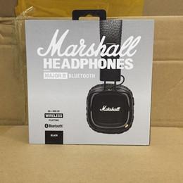 Wholesale universal monitor - Marshall major II bluetooth stereo wireless super bass earphone foldable hi-fi professional DJ monitor headphone with detachable cable