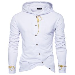 snap buttons pink Coupons - Men's Sweater Embroidered Slanting Door Snap Button Long Sleeve Hooded Sweater Sportswear Sweat Jacket Casual Sportswear 2XL