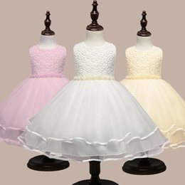 Wholesale Embroidery Factories - European and American flower beaded girls dress mesh embroidery princess Peng children's skirt factory direct wholesale