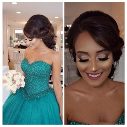 Wholesale Turquoise Ruffled Quinceanera Dress - Turquoise Ball Gown Sweet 16 Quinceanera Dresses Plus Size Major Beading Sweetheart Corset Tulle Long Party Prom For Girls 2018 Arabic