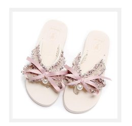 Wholesale Resort Beach Wear - Beach shoes female summer 2018 new fashion out of the sea resort sandals and slippers wear bow clip flippers