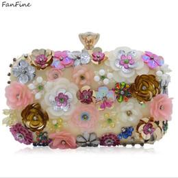 0409c9de8f55 FanFine Марка роскошные женские сумки клатчи кошелек вечерние сумки  модельер цепи дамы цветок свадебный узор сумка свадебные фирменные кошельки  аутлет