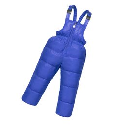 Wholesale Boys Waterproof Trousers - children kids duck down bib pants overalls toddler baby boys girls thick warm trousers Unisex Solid baby clothes Waterproof