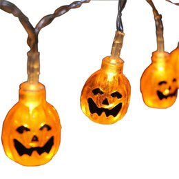 Festão laranja on-line-Halloween Acrylic Pumpkins Led String Light Holiday Party Layout Garland Outdoor&Indoor Decoration Orange Pumpkin Battery Light Strings