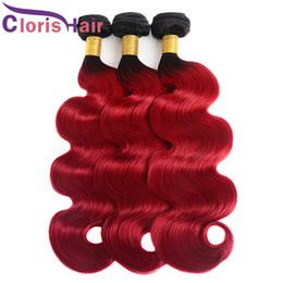 Canada Dark Roots Red Body Wave Cheveux Tisse Raw Bundles de cheveux humains vierges indiennes 3pcs pas cher deux tons 1B rouge ondulé Ombre Extensions de cheveux supplier raw indian body wave hair Offre