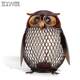 Wholesale Gold Piggy Bank - Tooarts Piggy Bank Owl Shaped Figurine Piggy Bank Money Box Metal Coin Box Saving Box Home Decoration Crafts Gift For Kids