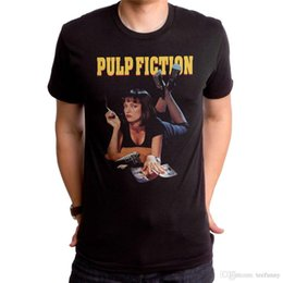 2018 New Fashion Man Auténtica con licencia Pulp Fiction Movie Mia Poster Uma Thurman camiseta S M L X 2X Dama manga corta camiseta Tops desde fabricantes