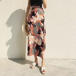 Wholesale long chiffon skirt pattern - New Fashion Bohemia Varied Pattern Bandage Chiffon Skirt Women Summer Long Beaches Bodycon Harajuku Skirts Female W2