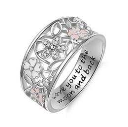 2019 anelli di fiore di ciliegio 2018 nuova moda Creativa anello di fiori di ciliegio in cristallo olio gocciolante ti amo alla luna e fiore posteriore anello delle donne mix size US6 - US10 anelli di fiore di ciliegio economici