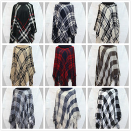 Wholesale Quality Poncho - Fashion High-end Loose Cloak Shawl Warm Wind Flow Su Side High Collar Shawl Plaid Coat High Quality Does Not Fade