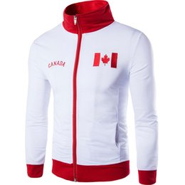 Wholesale Canada Mens Jacket - Spring Bomber Jacket White Red Men Cotton Men Coat Wedding Printed Canada Flag Baseball Coat Jacket Brand Clothing Mens Jackets Coat M-2XL