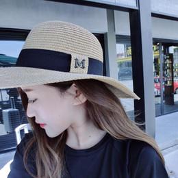95edc18e316 dropshipping 2018 Hot sale M letter Seaeside sun hats for women summer  large brimmed straw hat folding beach girls sun hat wholesale