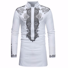 c0524af705 Camisa Africana Dashiki Hombres 2018 Primavera Otoño Nuevo Stand Collar Camisa  de Manga Larga Hombres Ropa Informal Africana Camisas Para Hombre