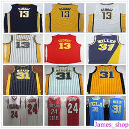 Wholesale Dark Green Jersey - Wholesale Stitched #13 Paul George Jersey Basketball Hickory Red Dark Blue Yellow Throwback 31 Reggie Miller Jerseys Free Shipping