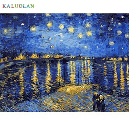Wholesale River Picture - Wholesale-Best Pictures DIY Digital Oil Painting Paint By Numbers Christmas Birthday Unique Gift Van gogh starry sky of the rhone river