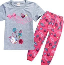 Wholesale Animal Pajama Suits - Unicorn Girls Pajama Sets JOJO Headbow hoodies Girls Short sleeve Home cloths Girls lovest Pajama suits for 4-12T