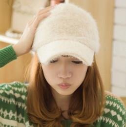 Wholesale Baseball Hat Hooks - 2017 Winter Warm Solid Rabbit Fur Baseball Cap For Women Stylish Curved Brim Hip Hop Snapback Hats