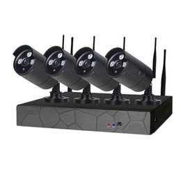 Wholesale Pcs Security Systems - 4CH Wireless NVR 720P IR outdoor P2P WIFI 4 PCS 1.0MP CCTV Security Camera System Surveillance Kit with 1tb hdd