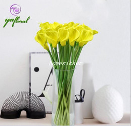 "Wholesale White Calla Lily Artificial Flowers - 25Pcs 35cm 13.78"" Length Super Artificial Flowers Simulation Calla Lily PU Flower for Wedding Flower"