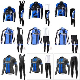 Wholesale Cycling Jersey Set Giant - New 2018 GIANT Cycling Jersey Cycling Suit High Quality Long Sleeve Cycling Clothing Set Outdoor Bicycle Clothing bib pants sets C0912
